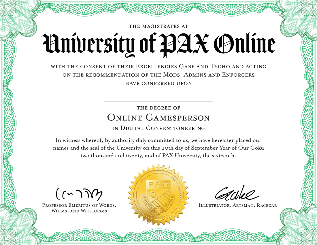 University of PAX Online Diploma